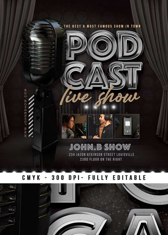 Live Podcast Show Promotion Or Advertising Flyer Template