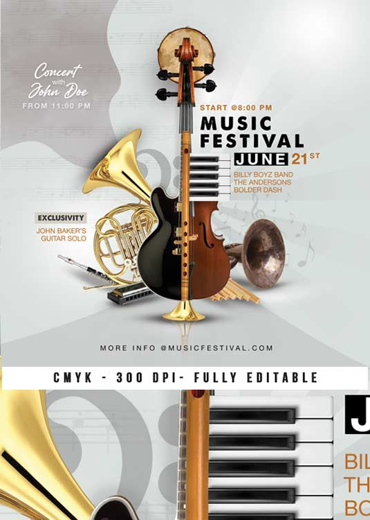 Music Festival Or Live Band Concert Flyer Template