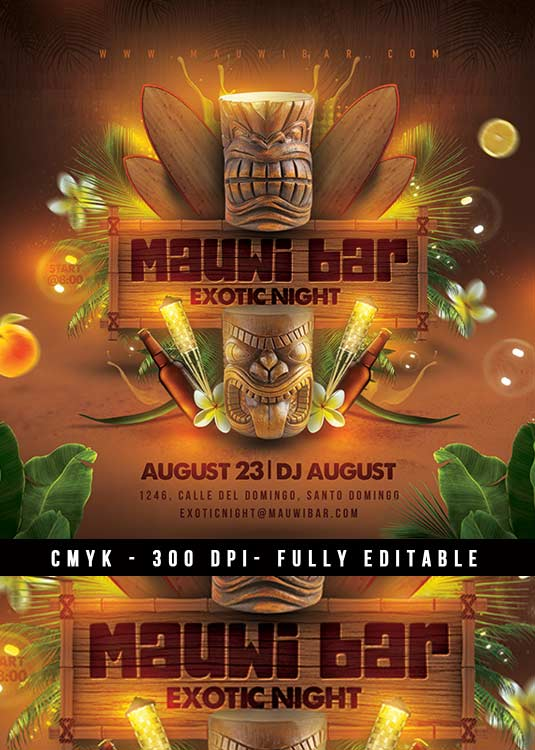 Special Tiki Bar Luau Themed Party Club Flyer Template