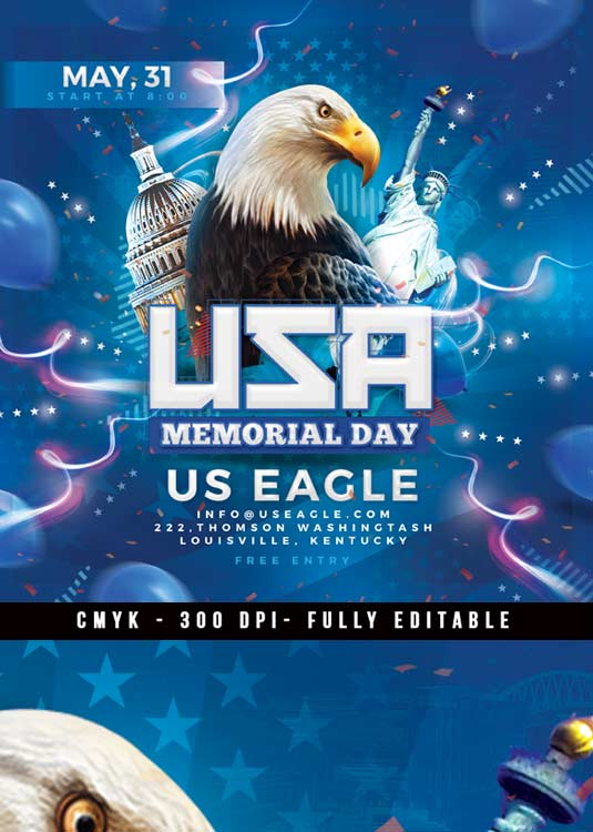 USA Memorial Day Or 4th Of July Party Flyer Template
