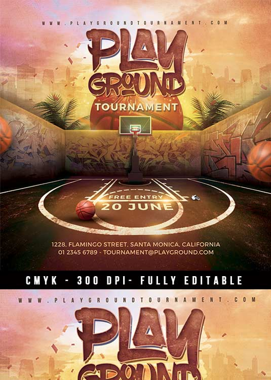 Basketball Game Playground Tournament Flyer Template