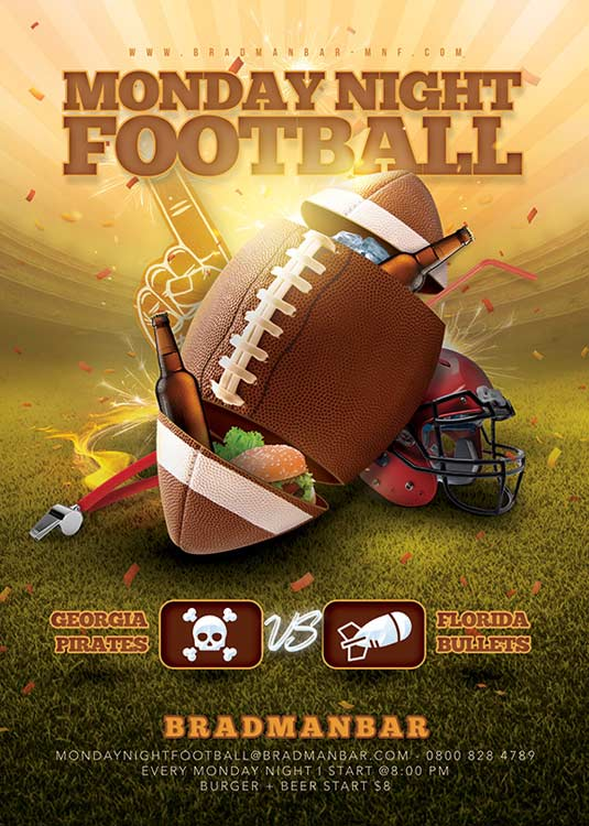 Special Monday Night Football Bar Flyer Template