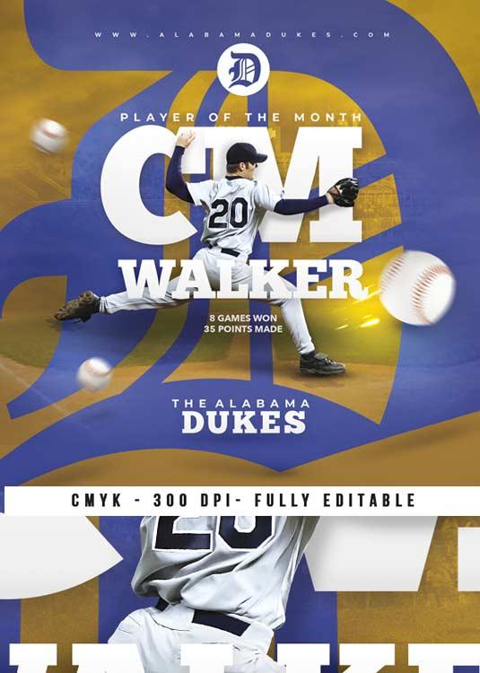 Baseball Player Feature Sport Game Flyer Template