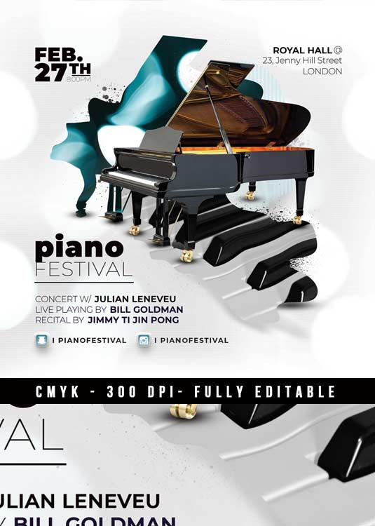 Special Piano Concert Music Event Flyer Template