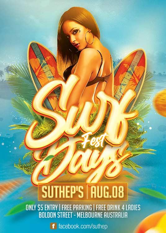 Seasonal Surf Days Fest Sport Event Flyer Template