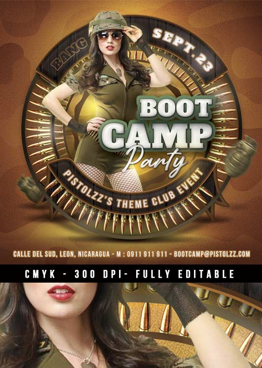 Themed Boot Camp Army Event Print Flyer Template