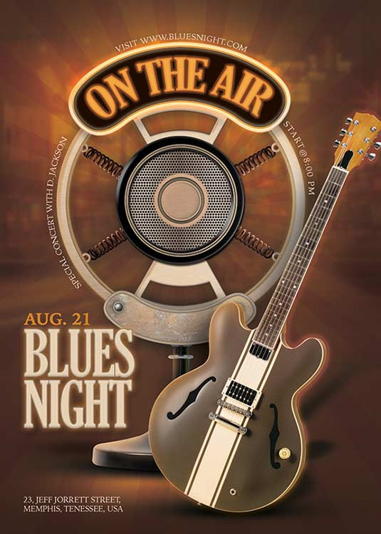 Themed Retro Blues Music Concert Night Flyer Template
