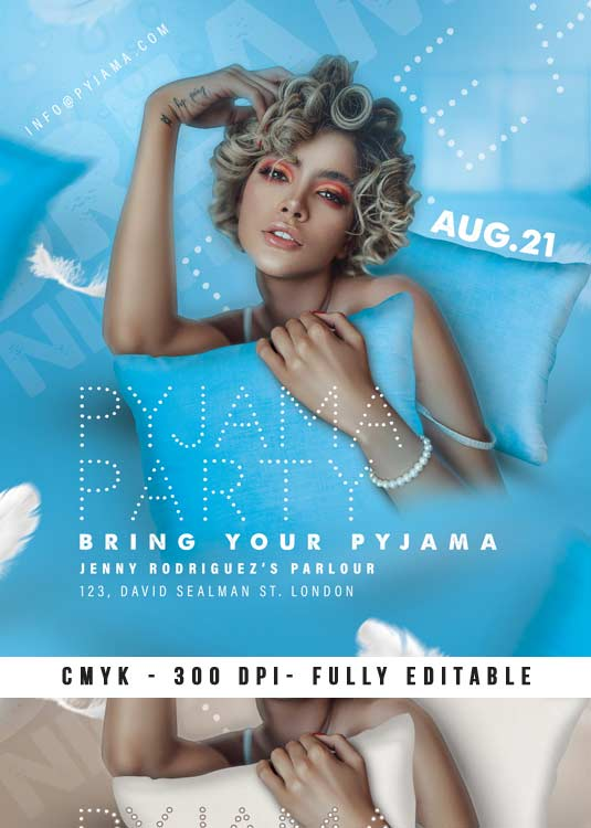 Pyjama Party Event Themed Night Club Flyer Template