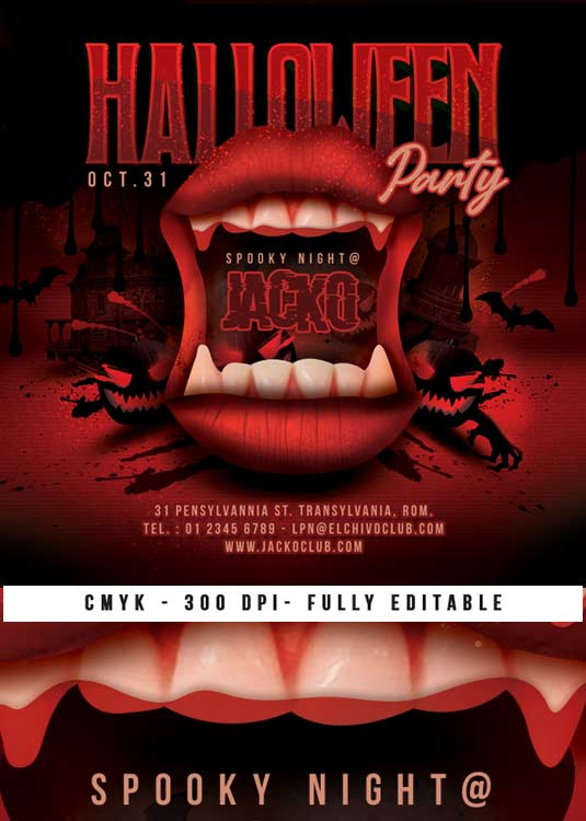 Special Spooky Halloween Themed Night Club Flyer