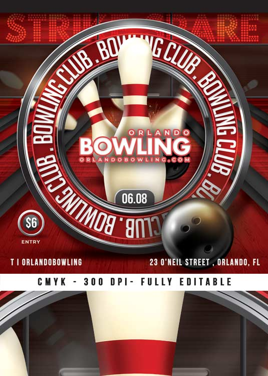 Themed Bowling Club Night Sport Flyer Template