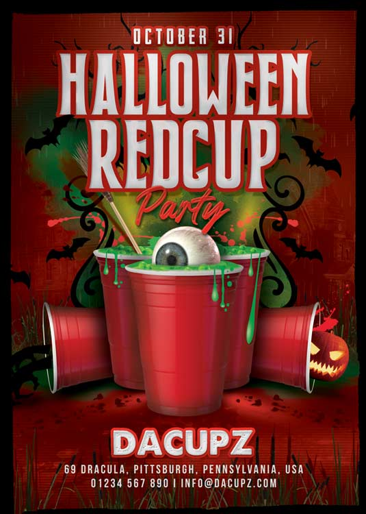 Themed Halloween Red Cup Club Party Flyer Template