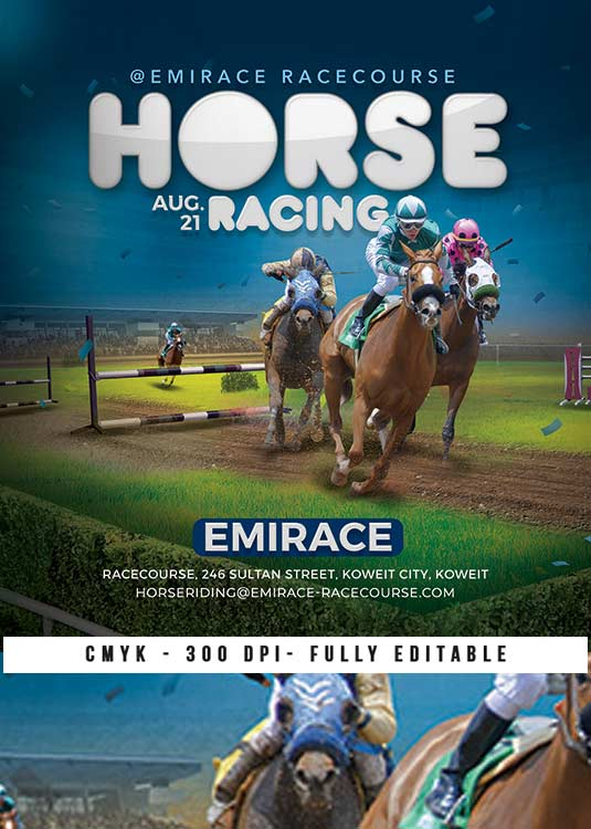 Themed Sport Horse Racing Competition Flyer Template